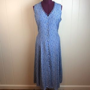 Vintage 80s/90s Blue White Daisy Grunge Maxi Dress